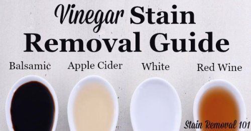 Vinegar stain removal guide for clothing, upholstery and carpet, giving step by step instructions for removing several types of vinegar stains, including balsamic, red wine, apple cide and malt vinegar {on Stain Removal 101}