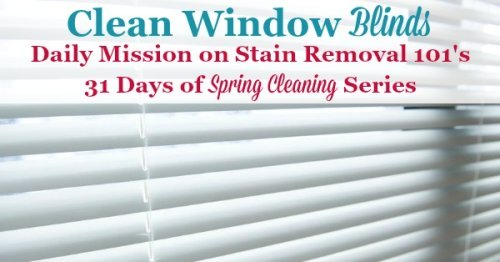 Clean window blinds, a daily mission on Stain Removal 101's 31 days of #SpringCleaning series