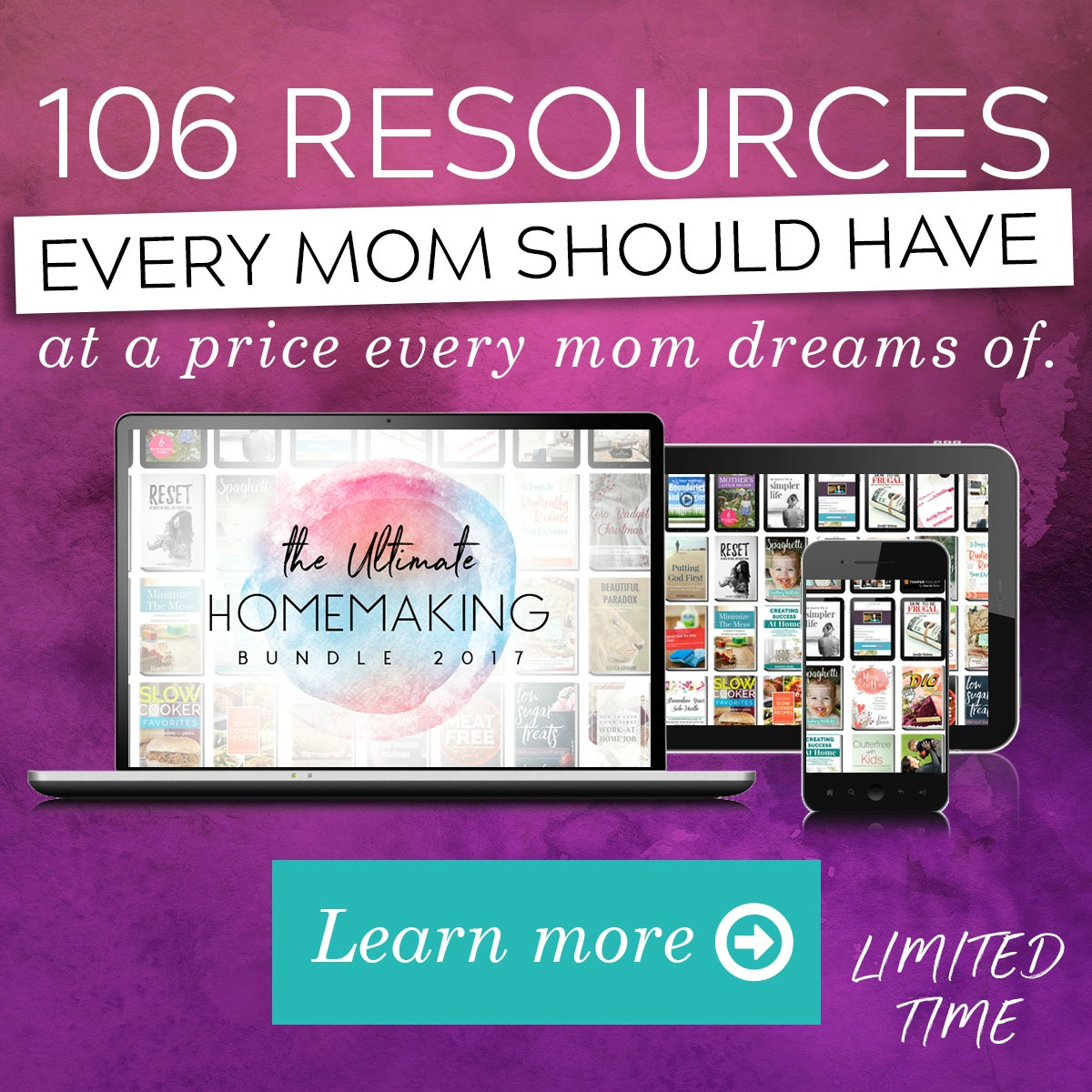 The Ultimate Homemaking Bundle has over 100 resources to help you improve your home and life, including printables, eBooks and eCourses that is worth more than $2,000, but for over 97% off, but it's only available for a limited time {more information on Home Storage Solutions 101}