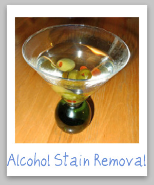 Alcohol stain removal guide for clothing, upholstery and carpet {on Stain Removal 101}