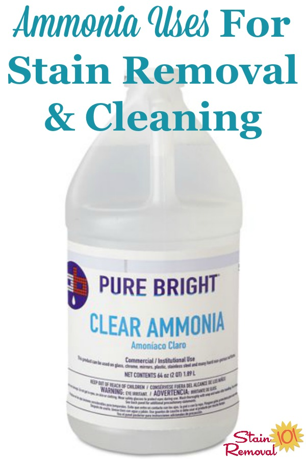 Here is a round up of ammonia uses throughout your home, for stain removal, cleaning and laundry {on Stain Removal 101} #AmmoniaUses #UsesForAmmonia #UsesOfAmmonia