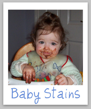 Here's how to remove the top 10 types of baby stains {on Stain Removal 101}