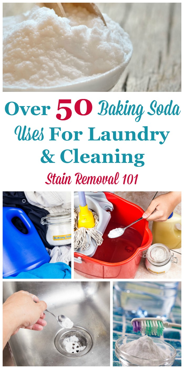 Here is a round up of over 50 baking soda uses for around the home, including for laundry, stain removal and cleaning tips {on Stain Removal 101} #BakingSodaUses #UsesForBakingSoda #BakingSoda