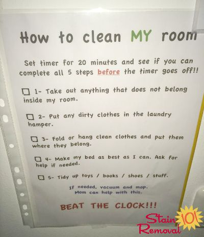 Bedroom cleaning checklist help kids know expectations for this chore - Five easy cleaning tips get some time for yourself ...