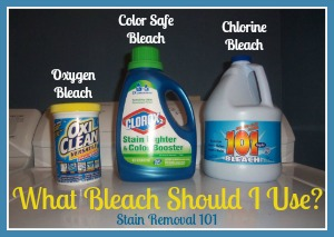 3 main types of bleach, including oxygen, color safe and chlorine varieties, and how to use them {on Stain Removal 101}