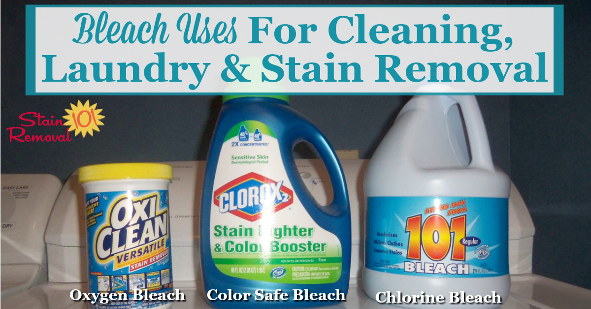 There are many bleach uses in your home, for cleaning, laundry and stain removal, but you need to use the right bleach for the right job. Here is a round up of uses for color, oxygen and chlorine bleach {on Stain Removal 101}