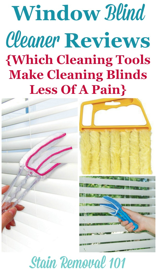 Window blind cleaner reviews and recommendations, with a discussion of what products and cleaning tools make cleaning blinds a bit less of a hassle {on Stain Removal 101}