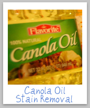 How to remove canola oil stains from clothing, upholstery and carpet, with step by step instructions {on Stain Removal 101}