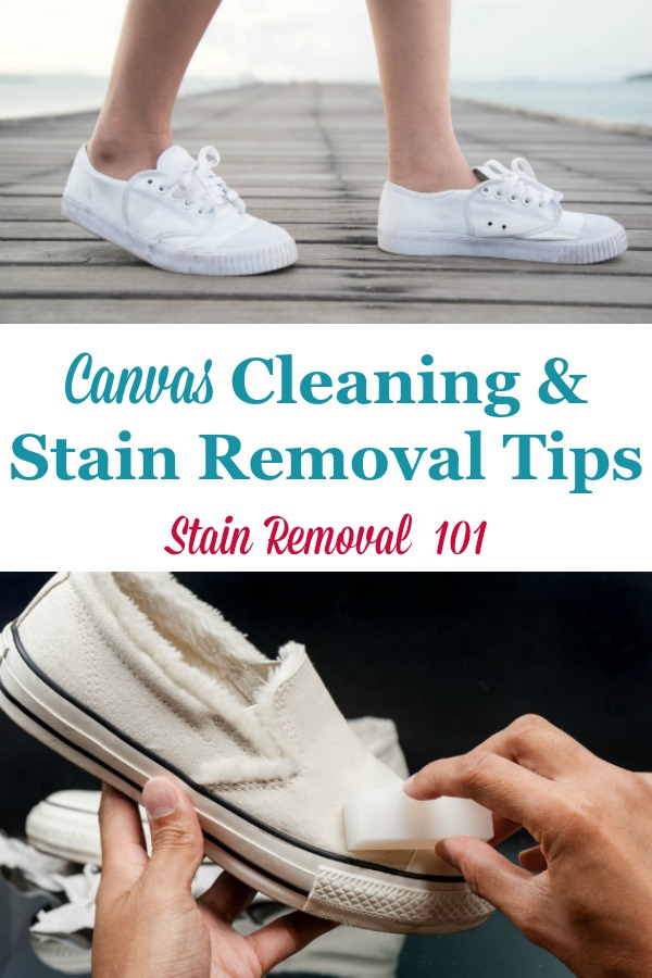 Here are canvas cleaning tips and stain removal ideas to clean items made with canvas around your home {on Stain Removal 101} #CanvasCleaningTips #CleanCanvas #CanvasStainRemoval