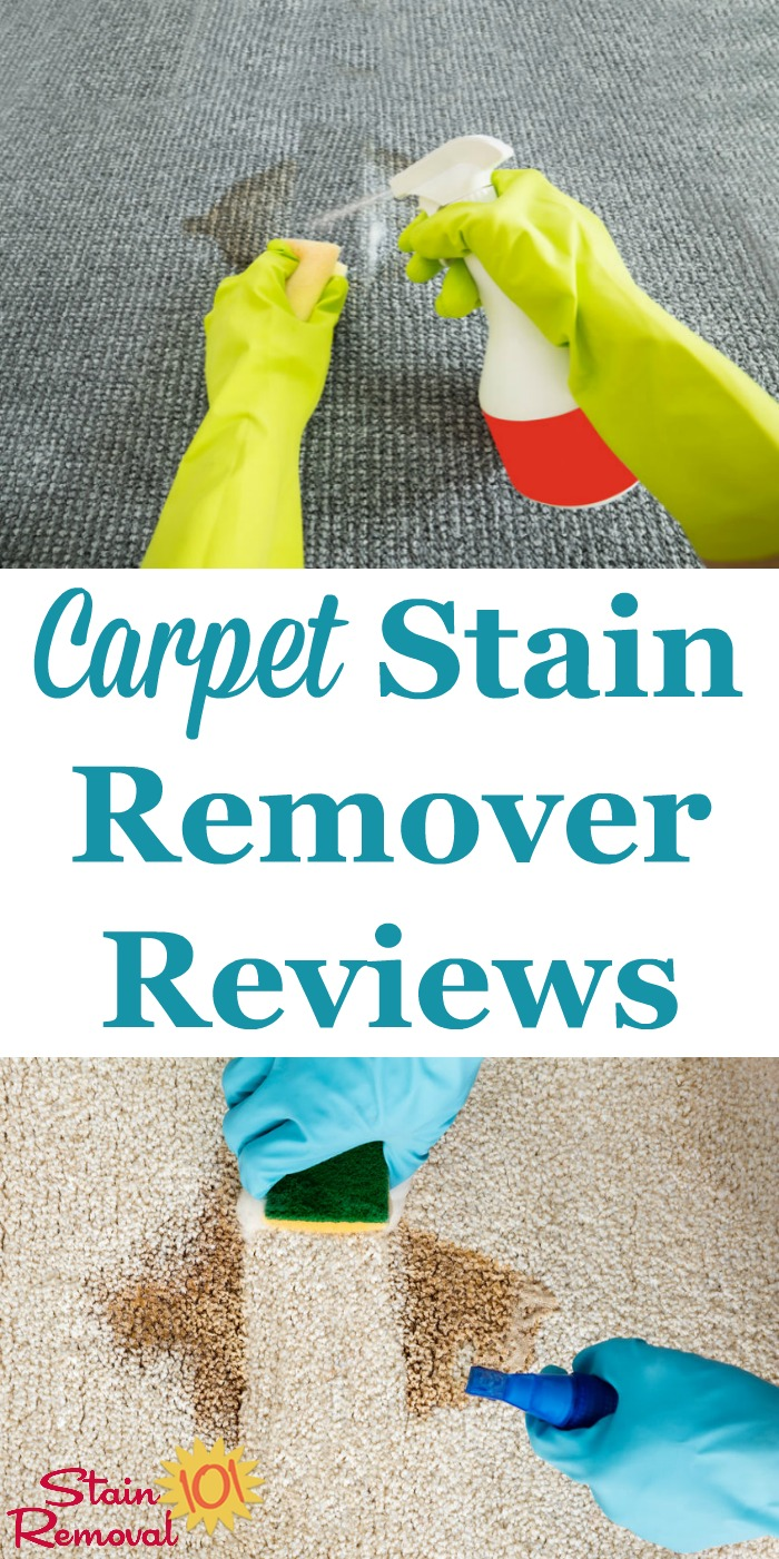 Here is a round up of over 35 carpet stain remover reviews to find out what products work best to remove carpet stains caused by a wide variety of spills and messes {on Stain Removal 101} #CarpetStainRemover #CarpetStainRemoval #CarpetStains