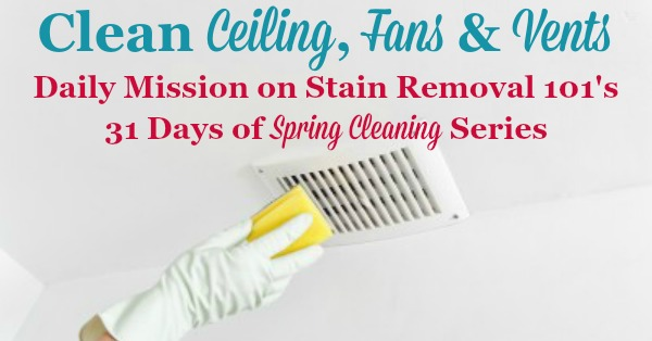 Daily mission on Stain Removal 101's 31 Days of #SpringCleaning series, to clean your ceiling, fans and vents