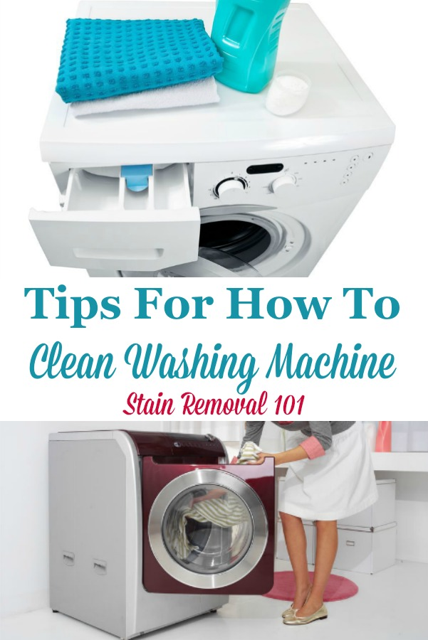 Here is a round up of tips for how to clean washing machine grime and odor away from both top and front loading machines, including reviews of various products used for this task {on Stain Removal 101} #CleanWashingMachine #CleaningWashingMachine #WashingMachineCleaner