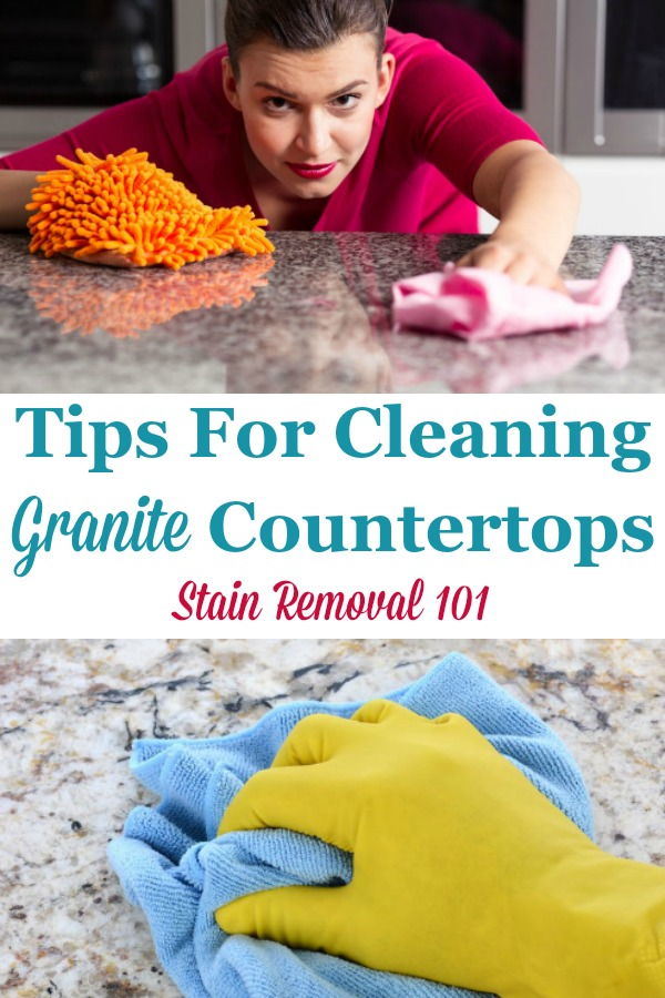 Here is a round up of tips for cleaning granite counter tops safely, to protect your investment, while also keeping them looking great {on Stain Removal 101} #CleaningGraniteCountertops #CleaningGranite #CleanGranite