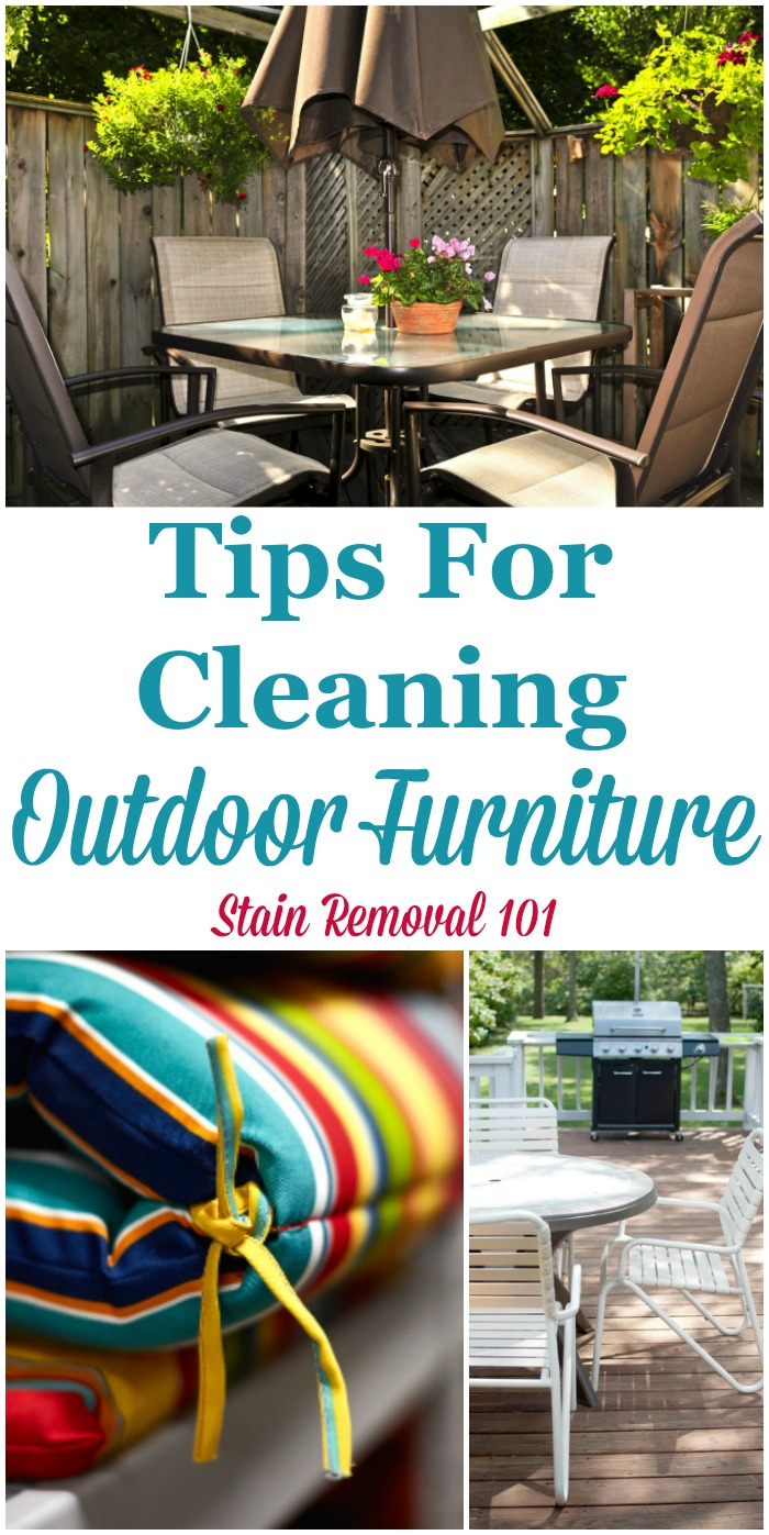 Here are tips for cleaning outdoor furniture, such as on your patio, lawn or in the garden, including tips for cleaning outdoor cushions {on Stain Removal 101} #CleaningTips #CleaningOutdoorFurniture #CleanPatioFurniture