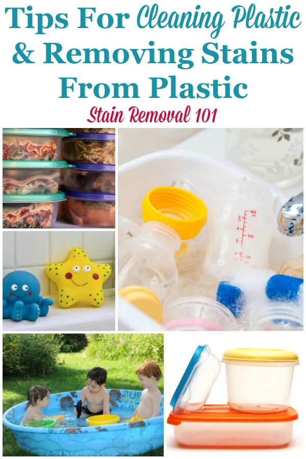 Here is a round up of tips for cleaning plastic surfaces, and also for removing stains from plastic food containers and other items around your home {on Stain Removal 101} #CleaningPlastic #PlasticStains #CleaningTips