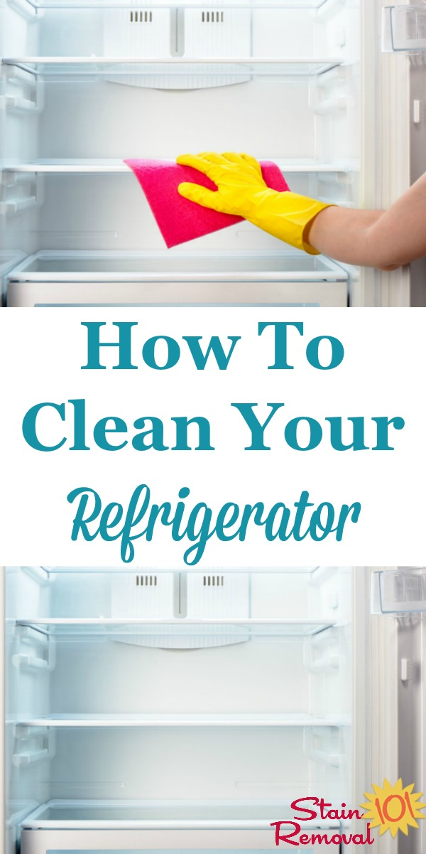 How to clean your refrigerator inside and out, plus dealing with odors {on Stain Removal 101} #CleaningTips #KitchenCleaning #Cleaning