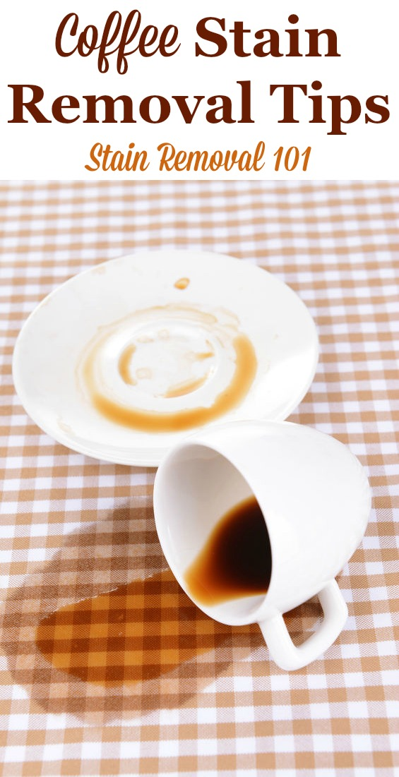 Here is a round up of coffee stain removal tips for all types of surfaces, such as clothes, hard surfaces and more, for those who love coffee but tend to spill it, plus reviews of what products work best for removing these stains {on Stain Removal 101} #StainRemoval #RemoveStains #RemovingStains
