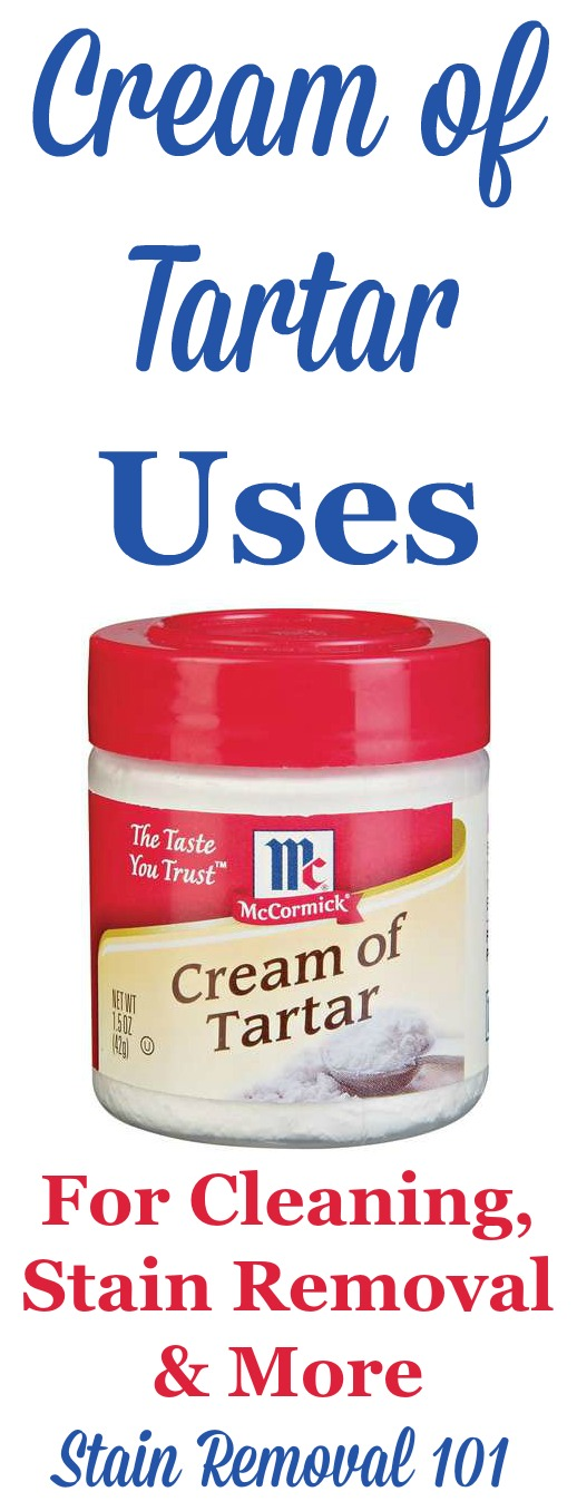 Cream of Tartar uses for cleaning, stain removal and more. This is another homemade cleaner ingredient you should definitely add to your arsenal. Who knew it did all this? {on Stain Removal 101}