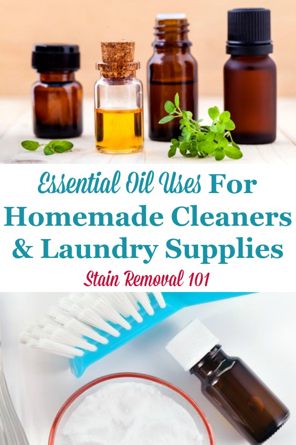 Here is a round up of essential oil uses for cleaning, laundry and stain removal in your home, and how to incorporate these oils into homemade cleaners for scent and also their cleaning properties {on Stain Removal 101}