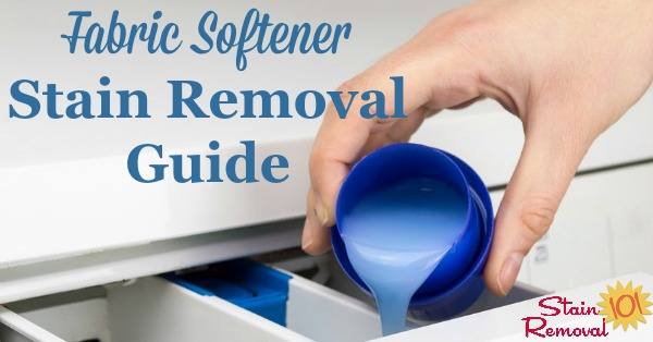 Step by step instructions for how to remove a fabric softener stain from clothing, caused by either liquid softener or dryer sheets {on Stain Removal 101}