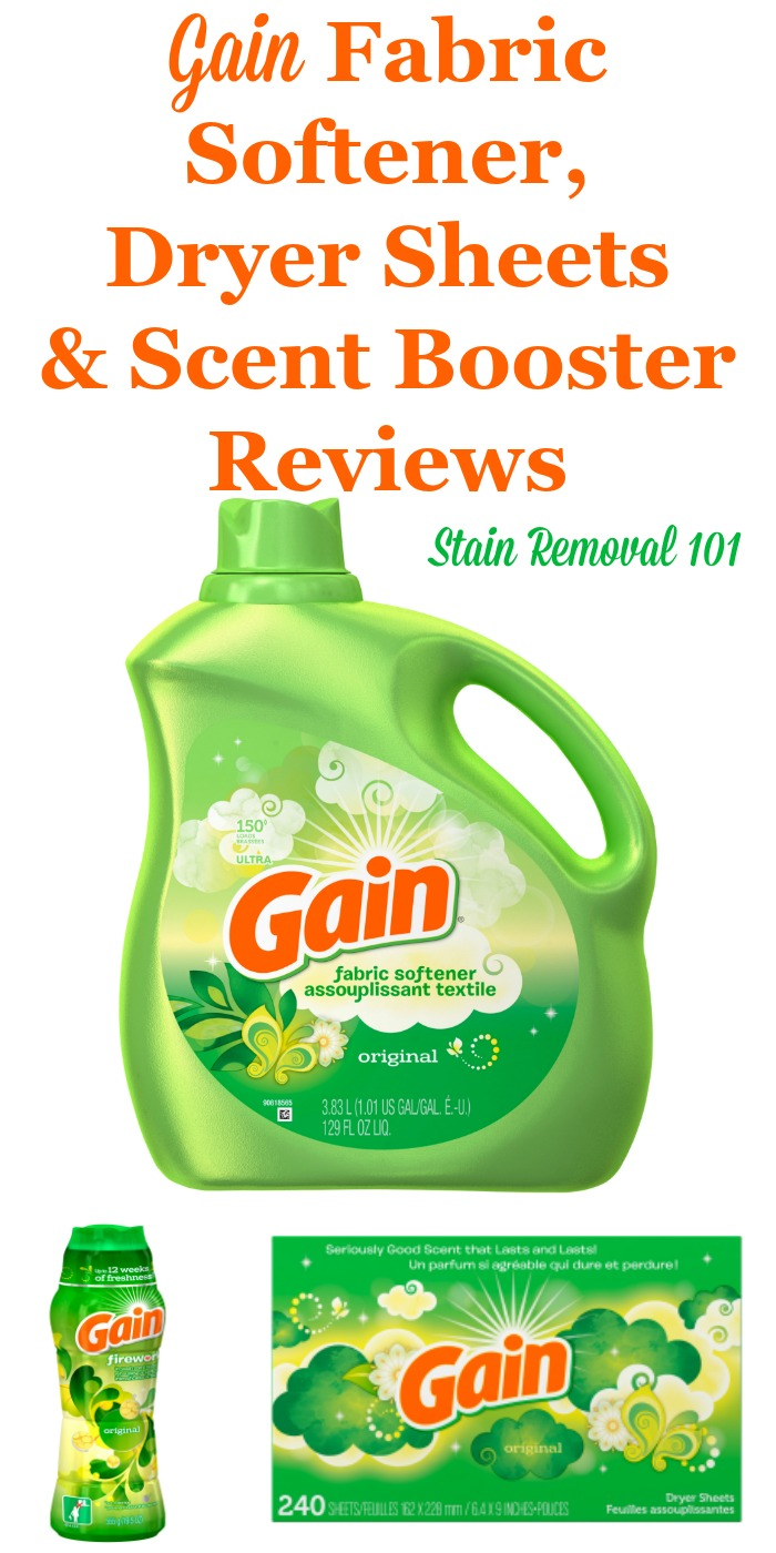 Here is a comprehensive guide about Gain fabric softener, dryer sheets and scent boosters, including reviews and ratings of this brand of laundry supply for many different scents and varieties {on Stain Removal 101}