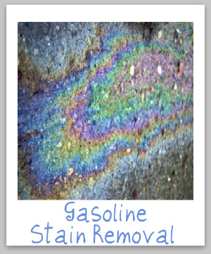 Step by step instructions for removing gasoline stains from clothing, upholstery and carpet {on Stain Removal 101}