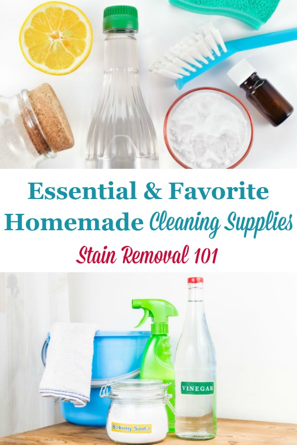 Here is a round up of some of the essential and favorite home made cleaning supplies, including ingredients and equipment, you may need for making homemade cleaning products {on Stain Removal 101} #HomemadeCleaningSupplies #CleaningSupplies #HomemadeCleaners