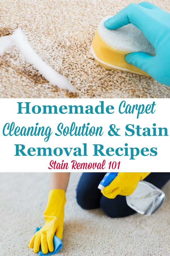 Here is a round up of homemade carpet cleaning solution and stain removal recipes, for both general cleaning and specific stains {on Stain Removal 101} #HomemadeCarpetCleaningSolution #HomemadeCarpetCleaner #HomemadeCarpetStainRemover