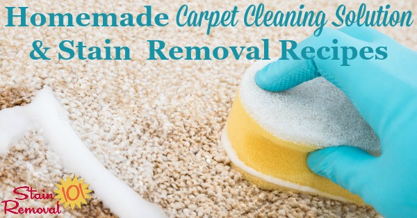 Here is a round up of homemade carpet cleaning solution and stain removal recipes, for both general cleaning and specific stains {on Stain Removal 101}