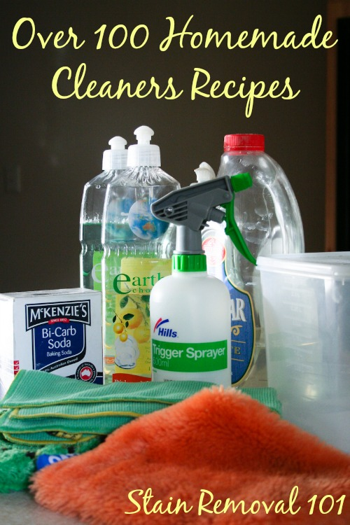 Over 100 homemade cleaners recipes for just about everything imaginable {on Stain Removal 101}