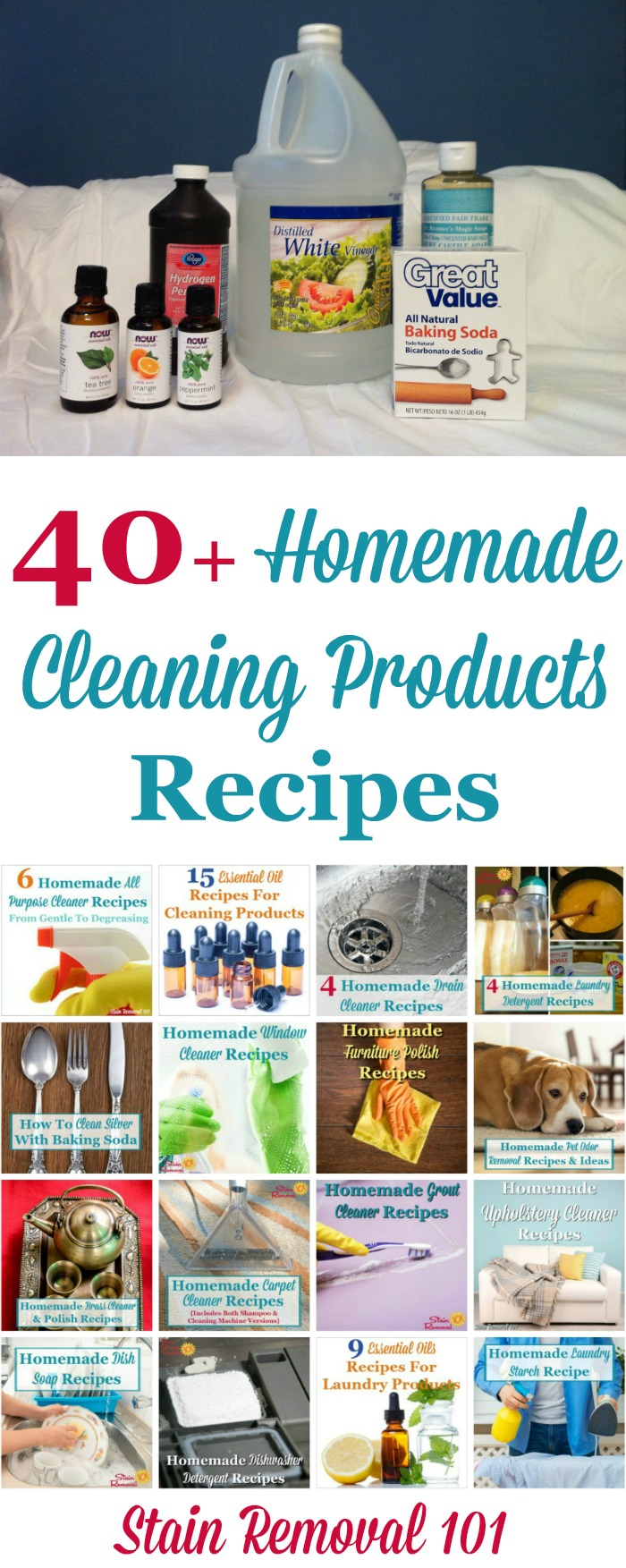 Over 40 homemade cleaning products recipes and instructions, for all around your house, with many types of ingredients, so you can make your own homemade cleaning solutions. {on Stain Removal 101}