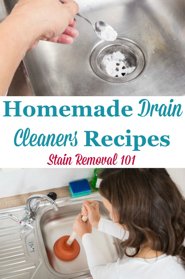 Here is a round up of homemade drain cleaners recipes, using common household ingredients to clear and unclog your home's drains {on Stain Removal 101} #HomemadeDrainCleaner #DrainCleanerRecipe #DrainCleaner