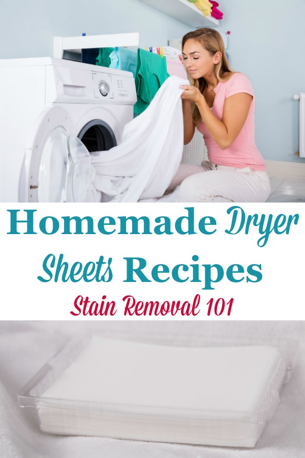 Here is a round up of tips and recipes for how to make homemade dryer sheets, for both fabric softening and scent {on Stain Removal 101} #HomemadeDryerSheets #DIYDryerSheets #DryerSheetsRecipes