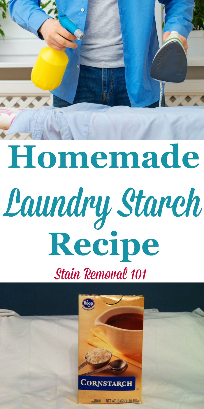 Simple homemade laundry starch recipe, with just two ingredients. It's frugal and natural! {on Stain Removal 101}