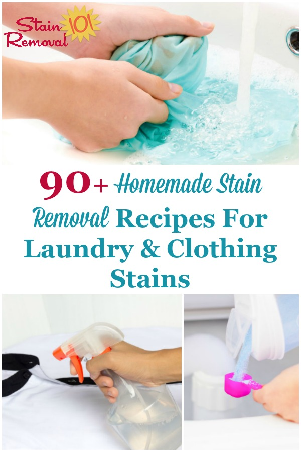 Here is a round up of over 90 homemade stain removal recipes for your clothes and laundry, organized by what stain it removes, from A through Z {on Stain Removal 101} #HomemadeStainRemoval #HomemadeStainRemover #StainRemovalRecipes