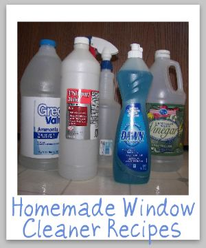 2 homemade window cleaner recipes, one with ammonia and the other with vinegar {on Stain Removal 101}