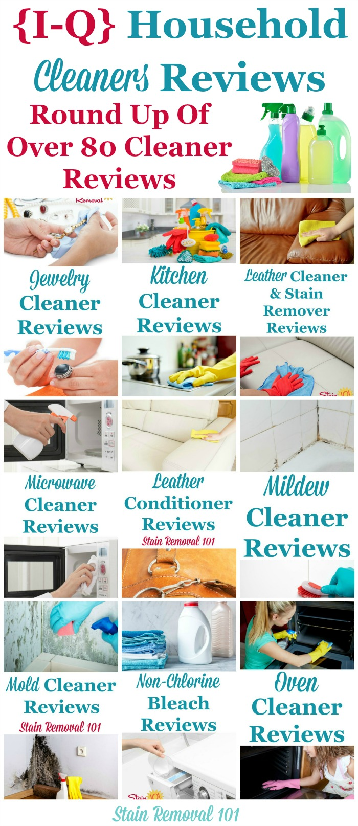 Here is a one of the most comprehensive round ups you'll find on the Internet for free, with over 80 household cleaners reviews, reviewed by Taylor from Stain Removal 101, or other readers from the site, beginning with the letters I - Q, so you can find the best cleaning products for your home (plus other pages on the site have the all the other letters of the alphabet, there are just that many reviews!) {on Stain Removal 101}
