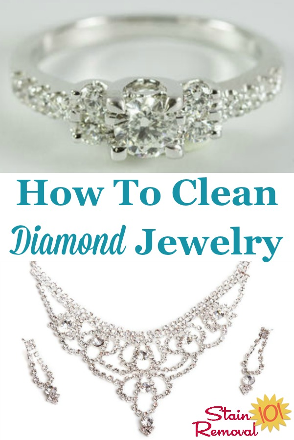 Here is a round up of tips for how to clean diamond jewelry and other diamonds so they sparkle and shine {on Stain Removal 101} #CleanDiamond #CleaningDiamond #DiamondCleaner