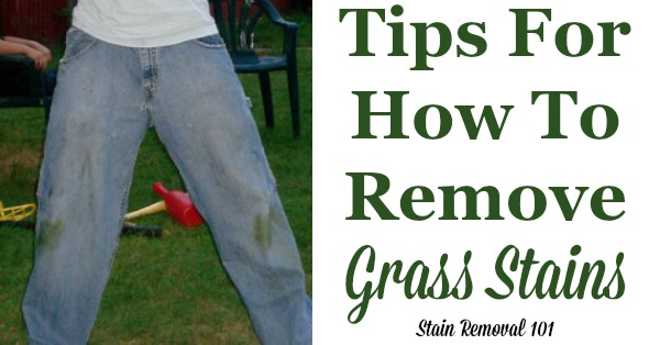 Here is a round up of tips for how to remove grass stains, including DIY methods as well as reviews of how various stain removers work on these tough spots {on Stain Removal 101} #StainRemoval #RemoveStains #RemovingStains