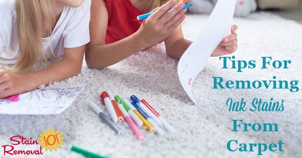 Here is a round up of tips for removing ink stain on carpet, to get ideas for how you can do it in your home. This includes reviews of cleaning and stain removal products used for the task {on Stain Removal 101} #StainRemoval #CarpetStains #InkStains