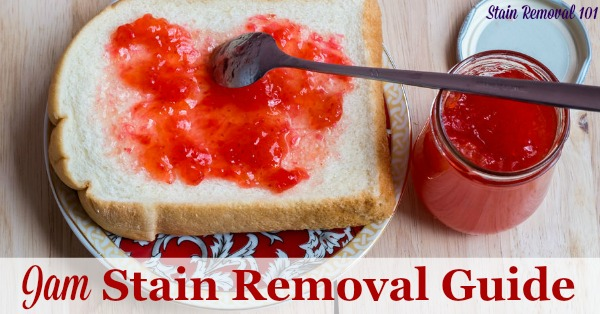 Jam stain removal guide, with step by step instructions for removing all the major flavors of jam from clothing, upholstery and carpet {on Stain Removal 101}