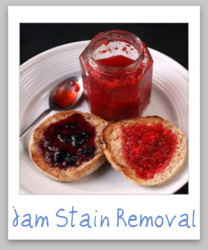 Step by step instructions for jam stain removal from clothes, upholstery and carpet. Includes instructions for all the major flavors of jam.