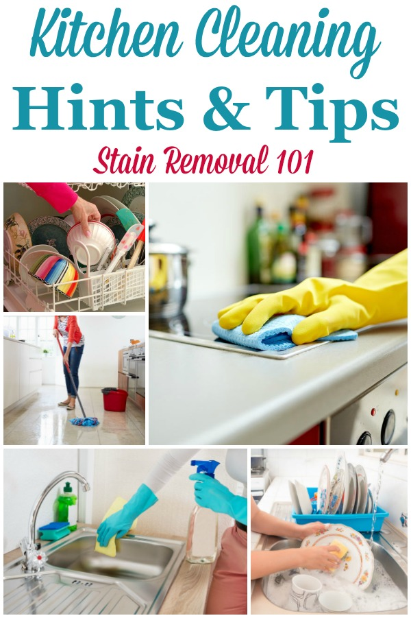 Here is a round up of over 30 kitchen cleaning hints and tips, for all types of items in your kitchen, to help you clean it faster and more easily {on Stain Removal 101} #KitchenCleaning #CleaningKitchen #KitchenCleaningTips