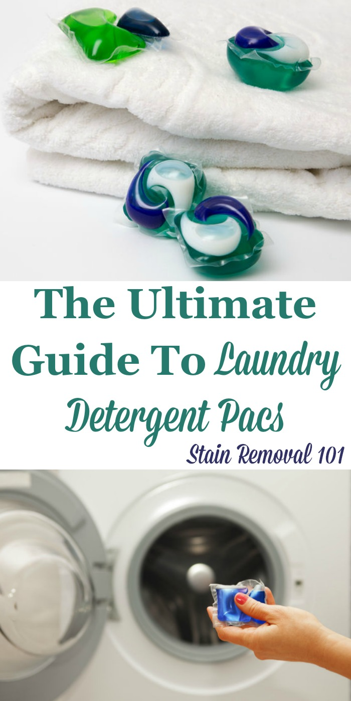 Here is the ultimate guide to using laundry detergent pacs and stain remover pacs, to wash your laundry, including the pros and cons of using this type of product, plus reviews of the various brands available {on Stain Removal 101} #LaundryDetergentPacs #DetergentPacs #LaundryDetergent