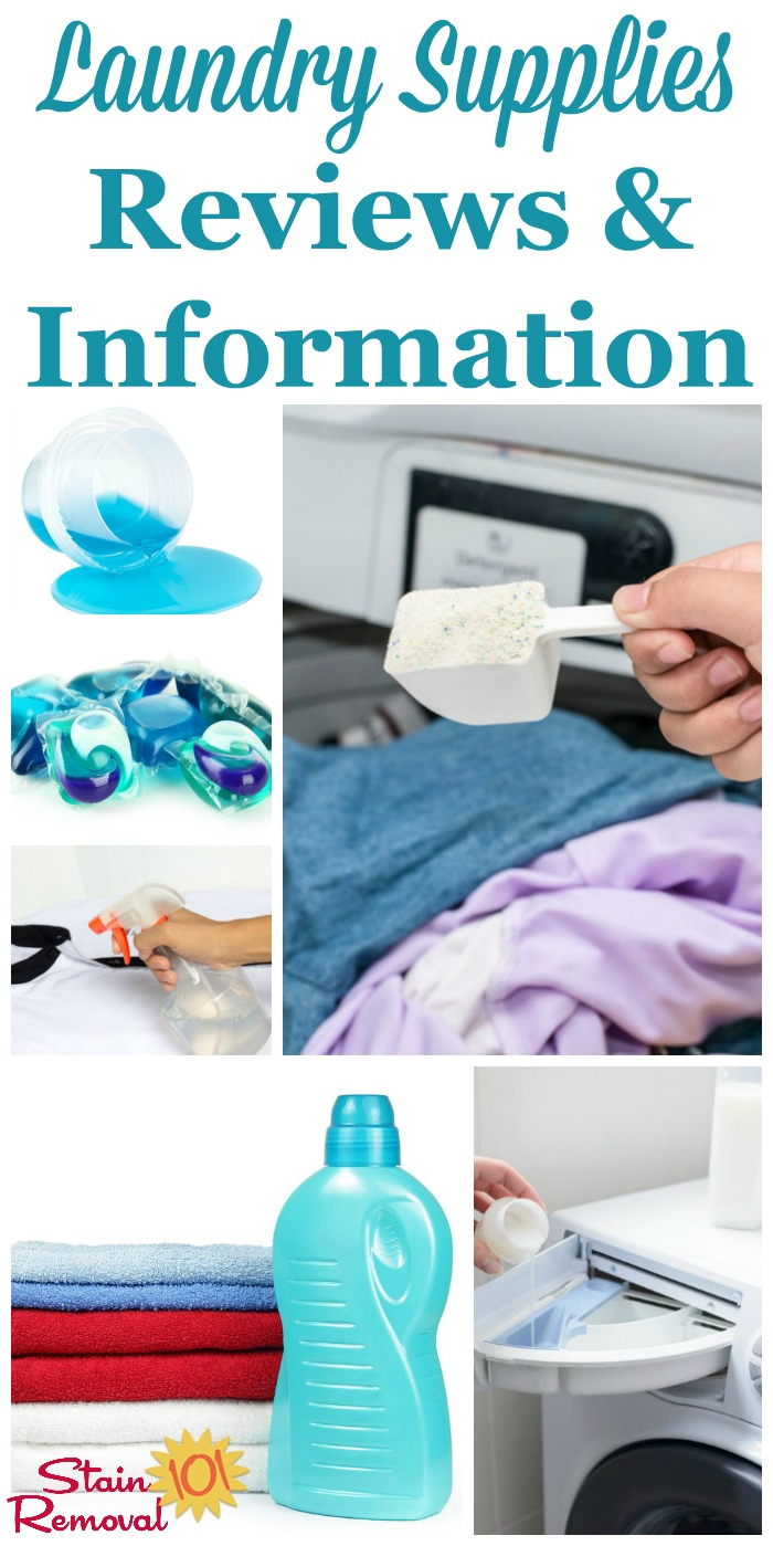 Get information and facts about the typical laundry supplies you should stock in your laundry room, along with reviews of major brands. This includes detergents, softeners, stain removers, bleaches, ironing supplies and more {on Stain Removal 101} #LaundrySupplies #Laundry #LaundryProducts