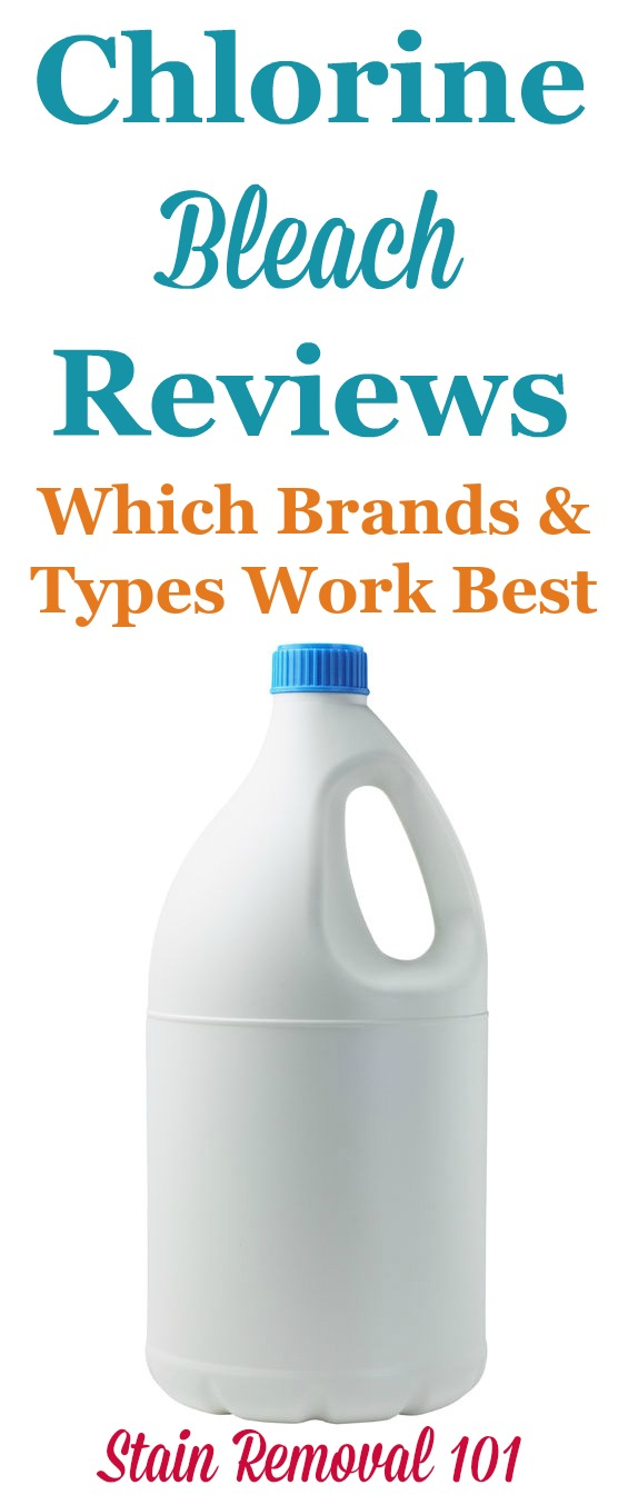 Here are reviews of powdered and liquid chlorine bleach from many different brands, including generic varieties, to know which ones work best for cleaning and stain removal in your home {on Stain Removal 101}