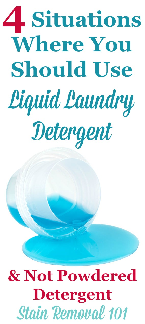 Did you know there are times when cleaning clothes and removing stains is easier with either liquid or powder detergent? Here are 4 situations where you should use liquid laundry detergent, and not powder {on Stain Removal 101}