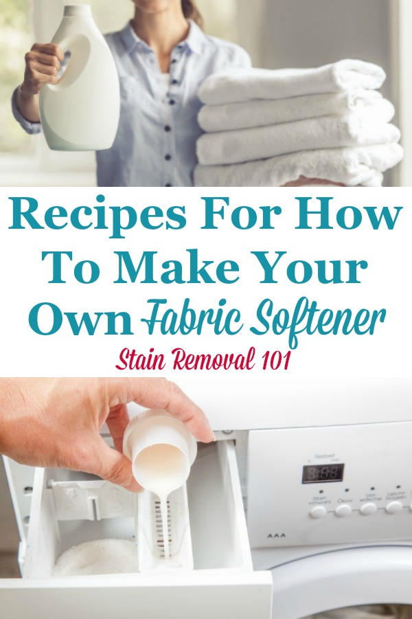 Here is a round up of recipes for how to make your own fabric softener for your laundry {on Stain Removal 101} #HomemadeFabricSoftener #FabricSoftenerRecipes #HomemadeLaundryProducts