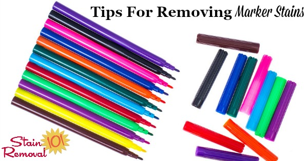 Here is a round up of marker removal stain tips when that marker colors on stuff other than paper, and onto clothing, carpet, walls and more. There are also reviews of various products, discussing how they work in removing these marks {on Stain Removal 101} #StainRemoval #RemoveStains #RemovingStains