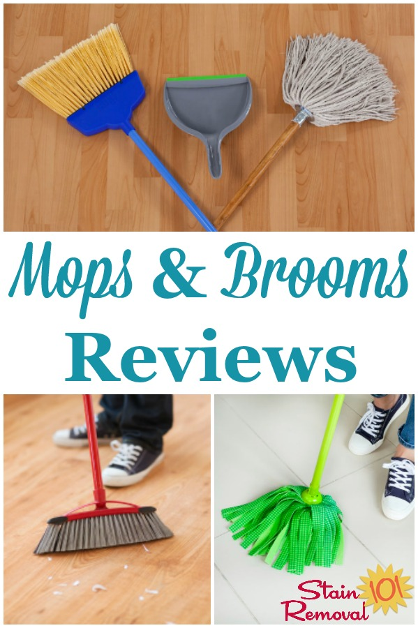 Here are reviews of mops and brooms, to find the best products to use to keep your floors clean and dirt and dust free {on Stain Removal 101} #MopsAndBrooms #CleaningEquipment #CleaningTips